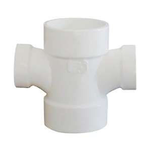 "2"" x 2"" x 1-1/2"" x 1-1/2"" DWV PVC Double Sanitary Reducing Tee P429-251"