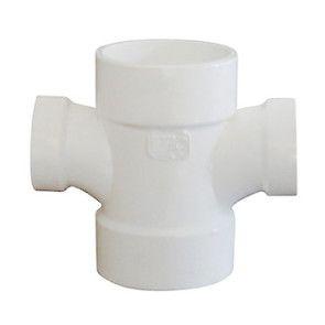 "4"" x 4"" x 1-1/2"" x 1-1/2"" DWV PVC Double Sanitary Reducing Tee P429-419"