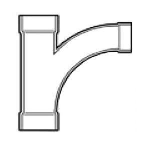 """4"""" x 4"""" x 3"""" DWV PVC Reducing Wye and 1/8 Bend (1 pc) D502-422"""