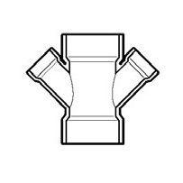 """3"""" x 3"""" x 1-1/2"""" x 1-1/2"""" DWV PVC Double Reducing Wye D612-337"""