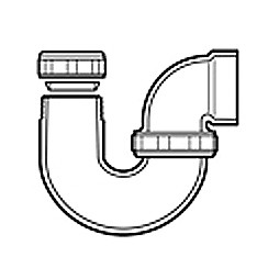 "1-1/4"" x 1-1/2"" DWV PVC L.A. Pattern P-Trap w/ Plastic Nut P711P-169"