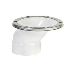 "4"" x 3"" DWV PVC Offset Closet Flange w/ Adjustable Metal Ring P820-422"