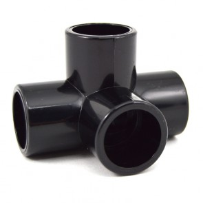 "1/2"" 4-Way Black PVC Fitting - Furniture Grade"