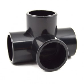 "3/4"" 4-Way Furniture Fitting - Black PVC"