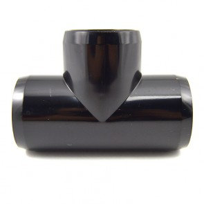 "1-1/2"" Black PVC Tee - Furniture Grade"