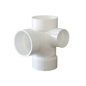"3"" x 3"" x 3"" x 1-1/2"" DWV PVC Sanitary Tee with R. Inlet D417-337"