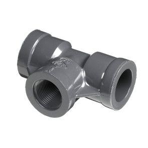 """1-1/2"""" Sch 80 PVC Tee - Soc x Fipt 802-015"""