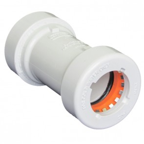 White PVC 235PSI GripLoc Socket Coupling