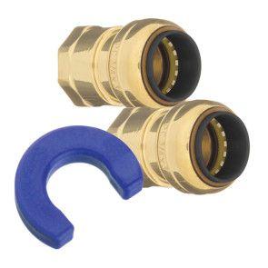 "10188309 3/4 x 3/4"" Brass Push Fit Water Heater Installation Kit"